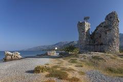 Castle Vecka Kula on the shore, Starigrad, Croatia Stock Photos