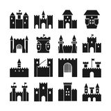 Castle vector icons. Medieval  walls and gothic tower black silhouettes Royalty Free Stock Photos