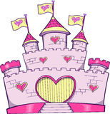 Castle Vector Illustration. Cute Pink Castle Vector Illustration Stock Images