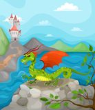 Castle. Vector illustration with a dragon Royalty Free Stock Photo