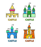 Castle vector set. Castle tower vector logo. Castle turret with Royalty Free Stock Photos