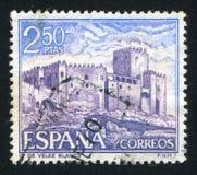 Castle Velez Blanco. SPAIN - CIRCA 1969: stamp printed by Spain, shows Castle Velez Blanco, circa 1969 royalty free stock photo