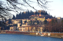 Castle in Verona, Italy. View to The Castel San Pietro and Adige river in Verona, Italy Royalty Free Stock Photos