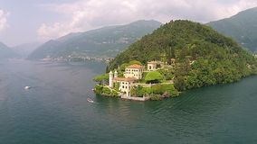 The Castle of Vezio Castle Balbianello and Lake Como aerial view.  stock video