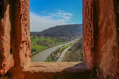 Castle View of the Neckar River. Neckar River seen from the window of a ruined castle in southern Germany Stock Photo