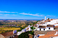 Alentejo Landscape, Monsaraz Village - Castle View, Travel South Portugal. Medieval Monsarraz village and Church bells towers. Alentejo plain and Alqueva Lake Stock Images