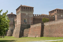 Castle view from south east, Soncino. View of the ancient Sforzesco Castle from south east, shot in bright summer light royalty free stock images