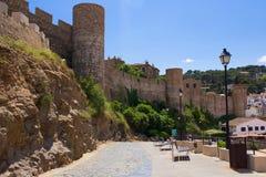 Castle view in Tossa de Mar, Costa Brava, Spain.  Stock Image