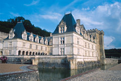 Castle of Villandry. Main facade and moat Stock Photography