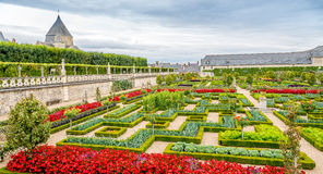 Castle Villandry with colorful garden. Royalty Free Stock Photos