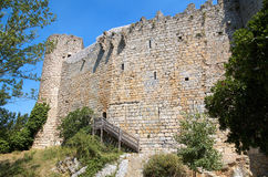 Castle of Villerouge-Termenes. Wall and tower of the castle of Villerouge-Termenes in landscape format Stock Images
