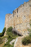 Castle of Villerouge-Termenes 2. Wall and tower of the castle of Villerouge-Termenes in portrait format Royalty Free Stock Image