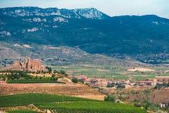 A castle in the vineyards of Briones. La Rioja, Spain. The landscape of briones with the vineyards, the castle and the mountains. La Rioja, Spain royalty free stock photo