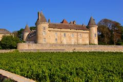 Castle in the vineyards of Burgundy, France Stock Photography