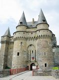The Castle at Vitre, Brittany. VITRE, FRANCE. August 28th 2017. The mediaeval castle at Vitre is a major tourist draw, and also functions as the town hall in the Stock Images