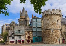 Castle of Vitre in Brittany - France. Travel and architecture background Royalty Free Stock Images