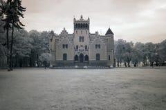 Castle von Treskov. In Greater Poland, Poland. the infrared image stock image