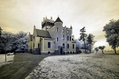 Castle von Treskov. In Greater Poland, Poland. the infrared image stock images