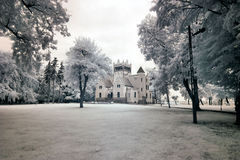 Castle von Treskov. In Greater Poland, Poland. the infrared image stock photo