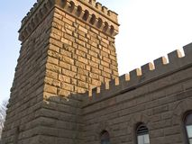 Castle Wall. This is a shot of a gothic type castle wall which is part of a lighthouse in Atlantic Highlands NJ royalty free stock photo