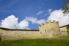 Castle wall. With tower and battlements Stock Image