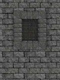Castle wall. A castle stone wall window with a grated window Royalty Free Stock Photos