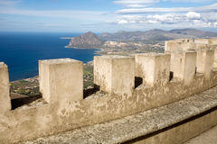 Castle wall. The wall and sea panorama of Venus castle, Erice town, Sicily, Italy Royalty Free Stock Photo