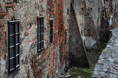Castle wall. Old ragged wall of the Krivoklat castle Stock Photo