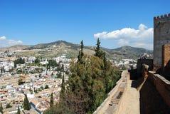 Castle wall and Albaicin District, Granada. Stock Photography