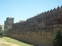 Castle wall. Ancient wall of the city of Seville. From the medieval period for the defense of the city Stock Photo