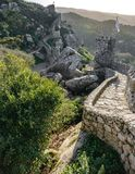 Castle wall across the mountain Stock Photography