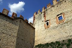 Castle wall and battlements Royalty Free Stock Photo