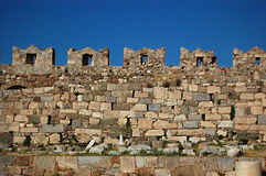 The castle wall battlements of Kos Castle. On the Greek Island of Kos stock photography