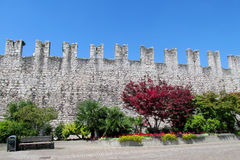 Castle wall in the city park Royalty Free Stock Photo