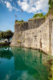 Castle wall at ditch of Kotor, Montenegro. Beautiful view of castle wall at ditch of Kotor, Montenegro Stock Photos