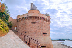 Castle wall of Mont Saint Michel Stock Image