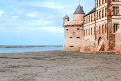 Castle wall of Mont Saint Michel Royalty Free Stock Images