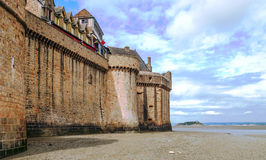 Castle wall of Mont Saint Michel Stock Images