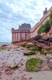Castle wall of Mont Saint Michel Stock Photos