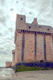 Castle wall of Mont Saint Michel Stock Photo