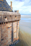 Castle wall of Mont Saint Michel Stock Image