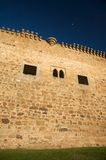 Castle wall and moon. Barco village castle in avila spain Stock Images