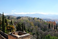 Castle wall and mountain view, Granada. Royalty Free Stock Photos