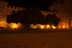 Castle wall at night Royalty Free Stock Photos