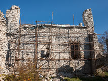 Castle wall reconstruction Royalty Free Stock Images
