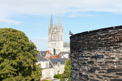 Castle wall and Saint Maurice Cathedral in Angers Stock Photo