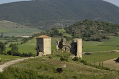 Castle and wall in Santa Gadea del Cid in Burgos province, Cast. View of the Castle and wall in Santa Gadea del Cid in Burgos province, Castilla-Leon, Spain royalty free stock photography
