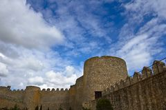 Castle Wall and Sky Stock Image