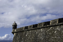 Castle wall, sky and sentry box in San Juan, Puerto Rico Royalty Free Stock Photos