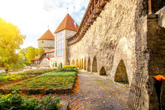 Castle wall in Tallinn. View on the castle wall with towers on Toompea hill in the old town of Tallin, Estonia royalty free stock image